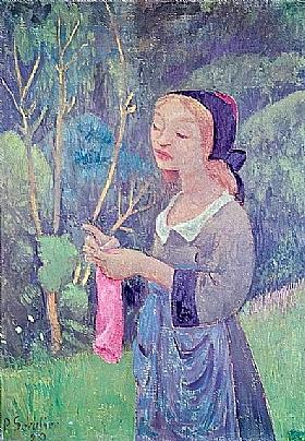 Paul Sérusier, Jeune bretonne avec un bas rose - GRANDS PEINTRES / Sérusier