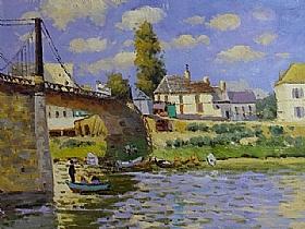 Alfred Sisley, Le pont à Villeneuve la Garenne - GRANDS PEINTRES / Sisley