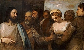 Tiziano Vecellio dit Titien, Jésus et la femme adultère - GRANDS PEINTRES / Titien
