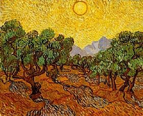 Vincent Van Gogh, Oliviers avec ciel jaune et soleil - GRANDS PEINTRES / Van Gogh