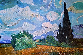Vincent Van Gogh, Paysage avec cyprès et arbres - GRANDS PEINTRES / Van Gogh