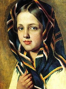Alexey Venetsianov, Fille avec un châle - GRANDS PEINTRES / Venetsianov