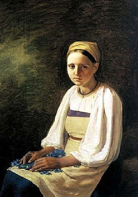 Alexey Venetsianov, Paysanne avec des bleuets - GRANDS PEINTRES / Venetsianov