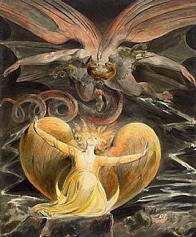 William Blake, Le grand dragon rouge en vol - GRANDS PEINTRES / Blake
