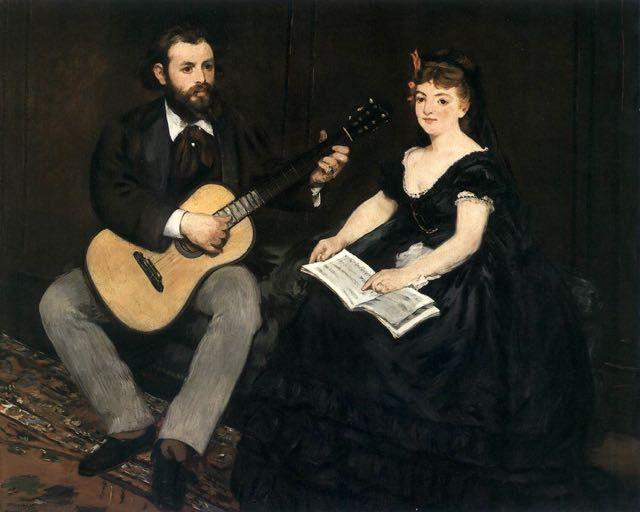 Edouard Manet, La leçon de musique : tableau de GRANDS PEINTRES et peinture de Manet