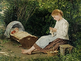 Albert Anker, Jeune fille gardant un enfant - GRANDS PEINTRES / Anker