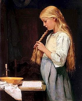Albert Anker, Jeune fille tressant ses cheveux - GRANDS PEINTRES / Anker