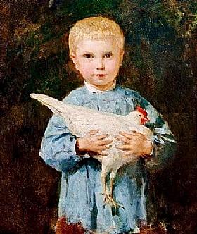 Albert Anker, Maurice Anker avec un poulet - GRANDS PEINTRES / Anker