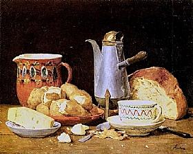 Albert Anker, Nature morte café pain pommes de terre - GRANDS PEINTRES / Anker