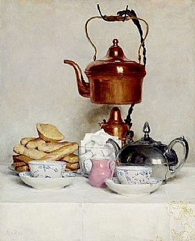 Albert Anker, Nature morte au service à thé - GRANDS PEINTRES / Anker