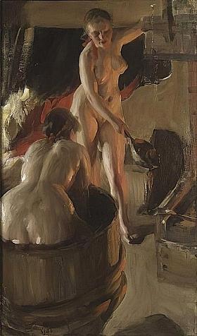 Anders Zorn, Filles de Dalarna au bain - GRANDS PEINTRES / Zorn