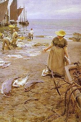 Anders Zorn, Marché aux poissons à St Ives - GRANDS PEINTRES / Zorn