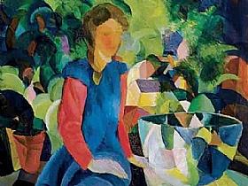 August Macke, fille en bleu au jardin - GRANDS PEINTRES / Macke