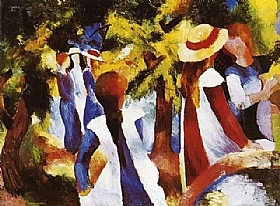 August Macke, Jeunes filles sous les arbres - GRANDS PEINTRES / Macke