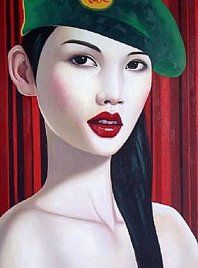 Sensualité et Charme, Béret vert épaules nues - PEINTURES / Tableaux Asie