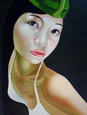 Sensualité et Charme, femme au béret - GRANDS FORMATS / 75cm x 100cm