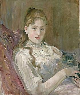 Berthe Morisot, Jeune fille avec un chat - GRANDS PEINTRES / Morisot