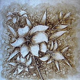 bouquet floral, variations Argent (3) - PEINTURES / Tableaux Faune & Flore