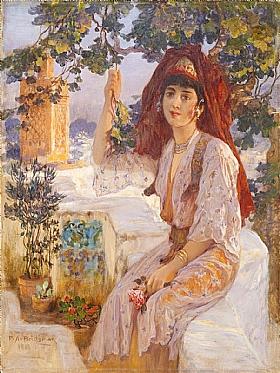 Arthur Frederick Bridgman, Jeune fille de Tlemcen en Algérie - GRANDS PEINTRES / Bridgman