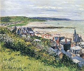 Gustave Caillebotte, Plage de Trouville vue de la corniche - GRANDS PEINTRES / Caillebotte