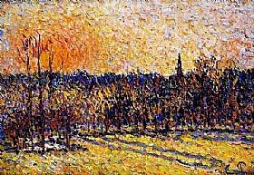 Camille Pissarro, Coucher de soleil - Bazincourt - GRANDS PEINTRES / Pissarro