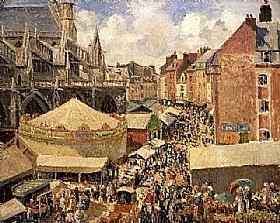 Camille Pissarro, Foire à Dieppe - GRANDS PEINTRES / Pissarro