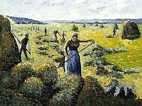 Camille Pissarro, La récolte des foins à Eragny - GRANDS PEINTRES / Pissarro