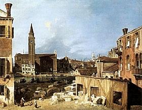 Canaletto, La cour du maçon - GRANDS PEINTRES / Canaletto