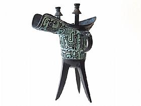 Carafe en bronze, Phoenix et Cigale Jue - SCULPTURES / Bronzes