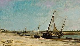 Charles-François Daubigny, Bateaux sur le littoral à Etaples - GRANDS PEINTRES / Daubigny