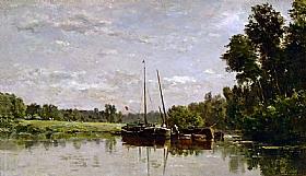 Charles-François Daubigny, Péniches sur l'Oise - GRANDS PEINTRES / Daubigny