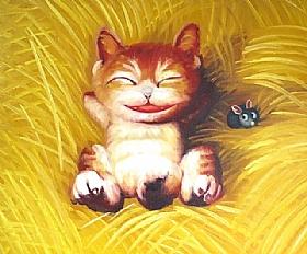 Bons Moments, Le chat et la souris - PEINTURES / Tableaux Animaux