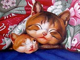Bons Moments, La sieste des chats - PEINTURES / Tableaux Animaux