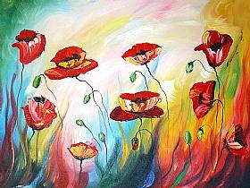 fleurs et nature, Coquelicots au vent - PEINTURES / Tableaux Faune & Flore