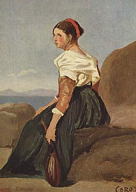 Camille Corot, Femme avec une mandoline - GRANDS PEINTRES / Corot