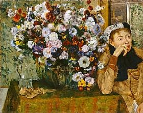 Edgar Degas, Femme près d'un vase de fleurs - GRANDS PEINTRES / Degas