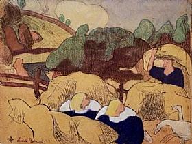 Emile Bernard, Femmes avec gerbes de paille - GRANDS PEINTRES / Bernard