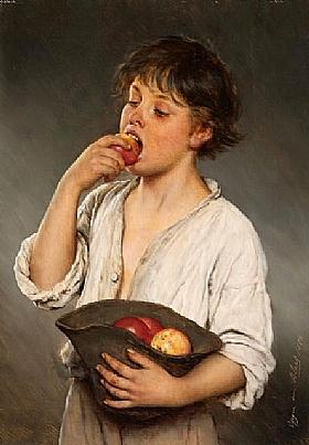 Eugène de Blaas, Garçon mangeant une pomme - GRANDS PEINTRES / Blaas