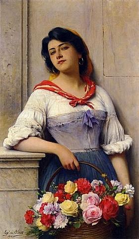 Eugène de Blaas, La vendeuse de fleurs - GRANDS PEINTRES / Blaas