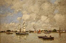 Eugène Boudin, Bateaux au port de Bordeaux - GRANDS PEINTRES / Boudin