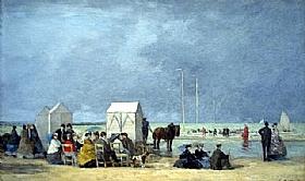 Eugène Boudin, heure du bain à Deauville - GRANDS PEINTRES / Boudin