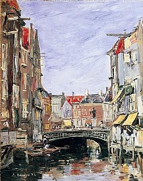 Eugène Boudin, Place Ary Scheffer à Dordrecht - GRANDS PEINTRES / Boudin