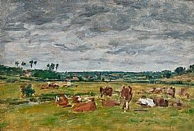 Eugène Boudin, Paysage avec vaches - GRANDS PEINTRES / Boudin