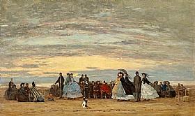 Eugène Boudin, Plage de Villerville - GRANDS PEINTRES / Boudin
