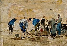 Eugène Boudin, Ramassage de vers sur la plage - GRANDS PEINTRES / Boudin