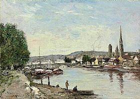 Eugène Boudin, Rouen vue du cours de la Reine - GRANDS PEINTRES / Boudin