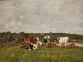 Eugène Boudin, Vaches au pâturage - GRANDS PEINTRES / Boudin