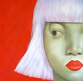 Sensualité et Charme, femme platine fond rouge - GRANDS FORMATS / 80cm x 80cm