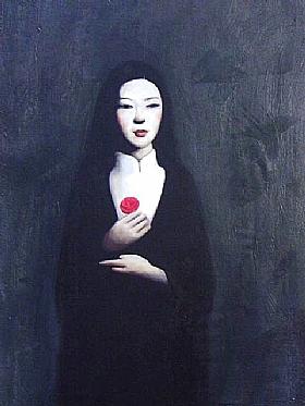 La rose rouge, la main sur le coeur - PEINTURES / Tableaux Figuratifs