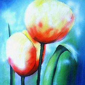 Nature et Flore, Fleurs rouges - PEINTURES / Tableaux Faune & Flore